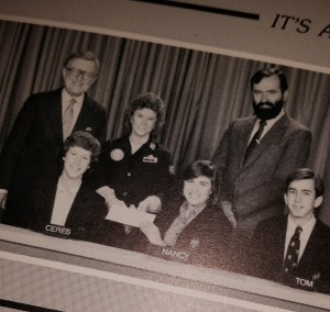B&W yearbook photo of our high school It's Academic team.