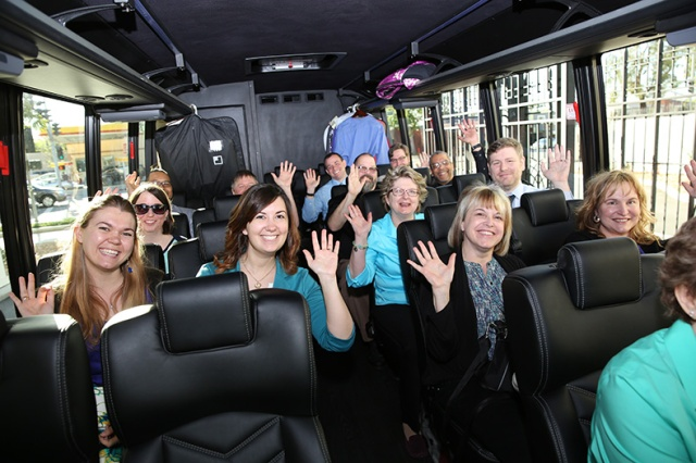 contestants on bus